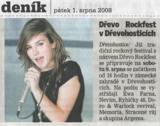 Dřevorockfest 2008 - Přerovský deník - článek 01.08.2008