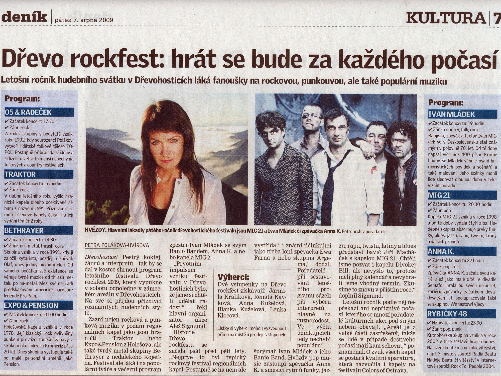 Dřevorockfest 2009 - Přerovský deník - článek 07.08.2009