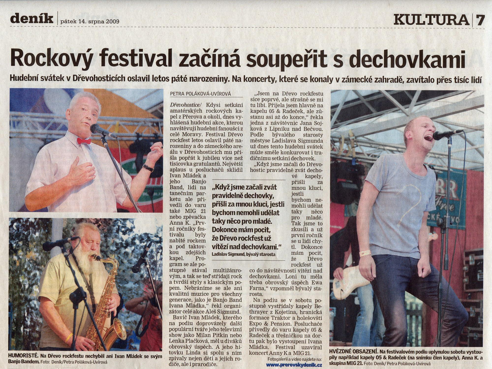 Dřevorockfest 2009 - Přerovský deník - článek 14.08.2009