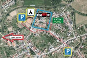 Mapa parkování a stanování